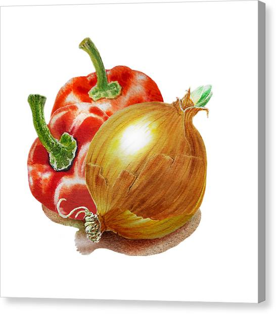 Onion Canvas Print - Red Peppers And Onion by Irina Sztukowski