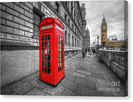Red Phone Box And Big Ben Canvas Print