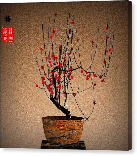 Red Plum Blossoms Canvas Print by GuoJun Pan