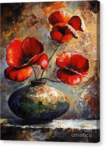 Brush Canvas Print - Red Poppies 02 by Emerico Imre Toth