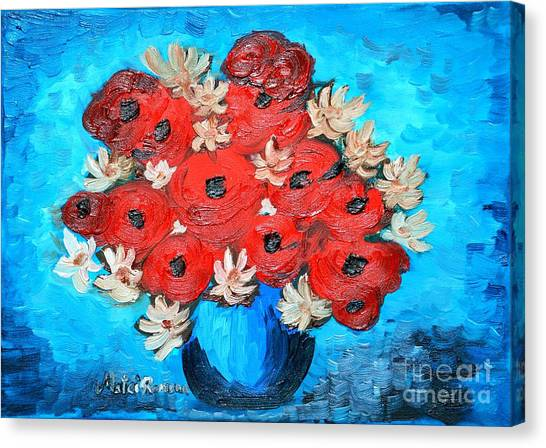 Red Poppies And White Daisies Canvas Print