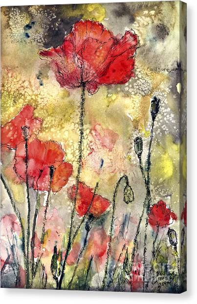 Red Poppies Botanical Watercolor And Ink Canvas Print