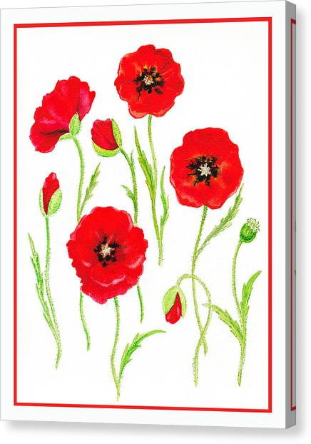 Irina Canvas Print - Red Poppies by Irina Sztukowski