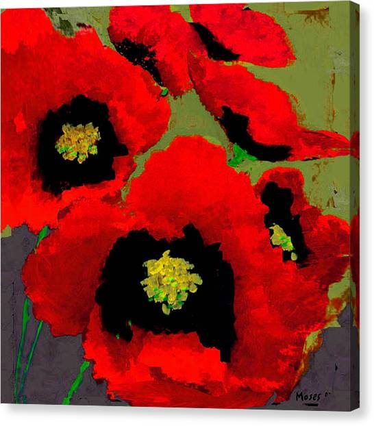 Red Poppies On Olive Canvas Print