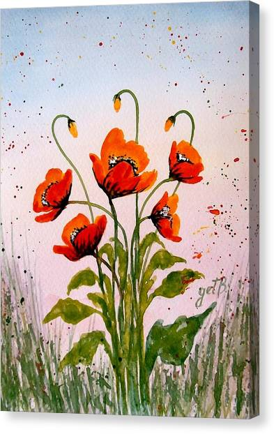 Red Poppies Original Watercolor  Canvas Print