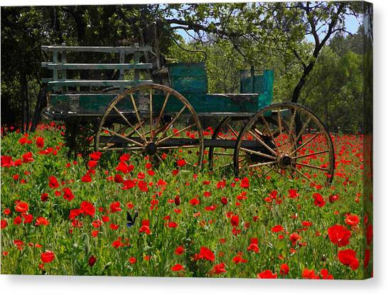Red Poppies With Wagon Canvas Print