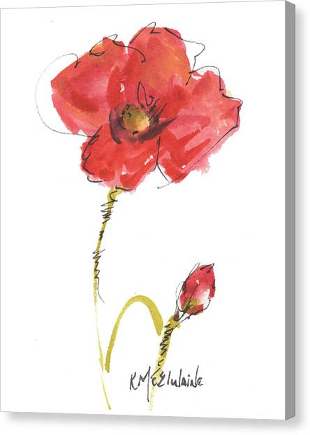 Red Poppy And Bud Canvas Print