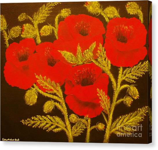 Red Poppy-original Sold-buy Giclee Print Nr 31 Of Limited Edition Of 40 Prints  Canvas Print by Eddie Michael Beck