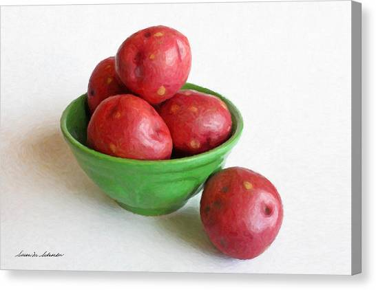 Red Potatoes In A Green Bowl Canvas Print