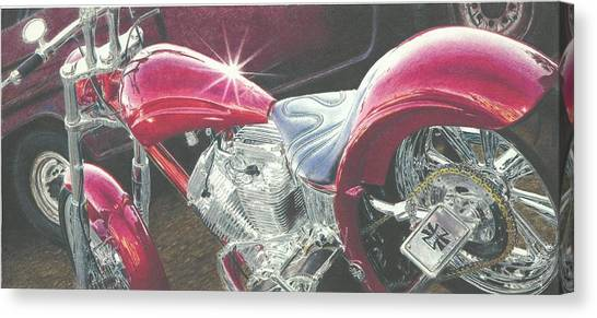 Pencil Drawing Motorcycle Canvas Print - Red Ride by Jimmy Graves