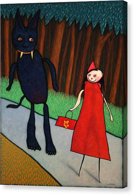 Little Canvas Print - Red Ridinghood by James W Johnson