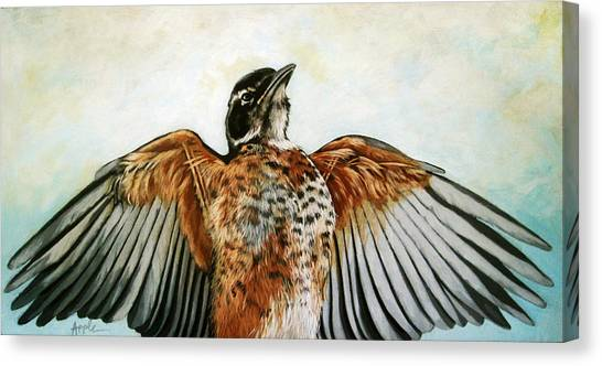Red Robin Bird Realistic Animal Art Original Painting Canvas Print