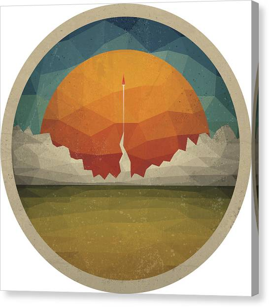 Red Rocket Flies Start Up Concept Vector Of Triangles Canvas Print by Magnilion