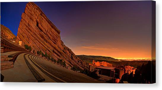 Red Rock Canvas Print - Red Rocks Amphitheatre At Night by James O Thompson