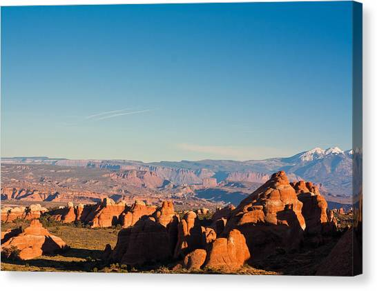 Red Rocks And The La Sal's Canvas Print
