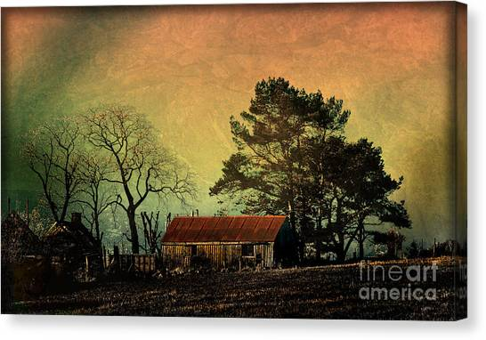 Red Roof Landscape Canvas Print