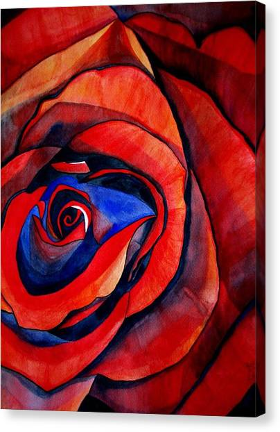 Red Rose Macro Canvas Print by Sacha Grossel