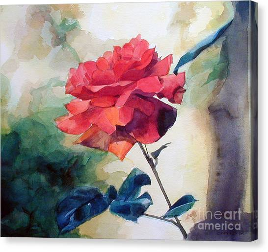 Watercolor Of A Single Red Rose On A Branch Canvas Print