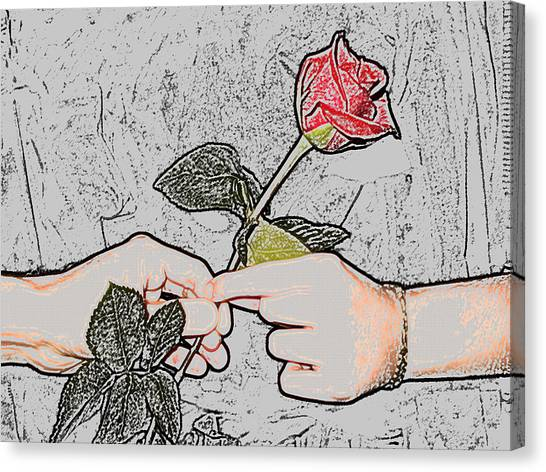 Red Rose Sketch By Jan Marvin Studios Canvas Print