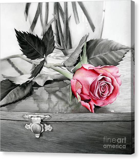 Ink Canvas Print - Red Rosebud by Hailey E Herrera