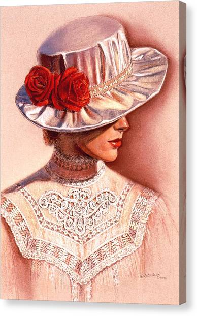 Red Roses Satin Hat Canvas Print