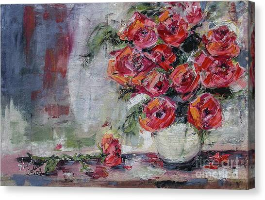 Red Roses Still Life Canvas Print