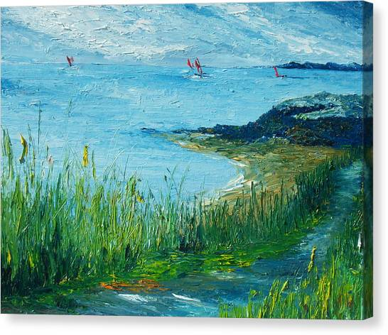 Red Sails In Galway Bay Canvas Print