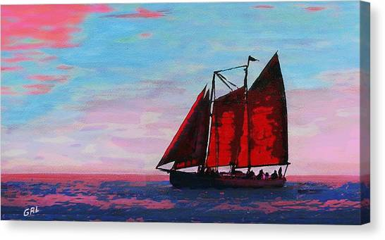 Red Sails On The Chesapeake - New Multimedia Acrylic/oil Painting Canvas Print