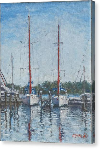 Red Sails Under Gray Sky Canvas Print