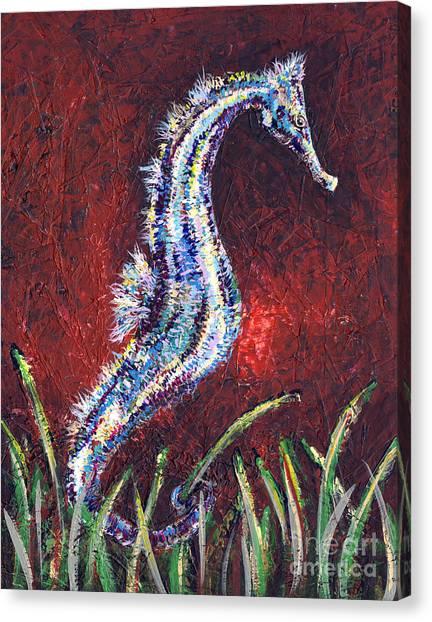 Midnite Canvas Print - Red Seahorse by Lovejoy