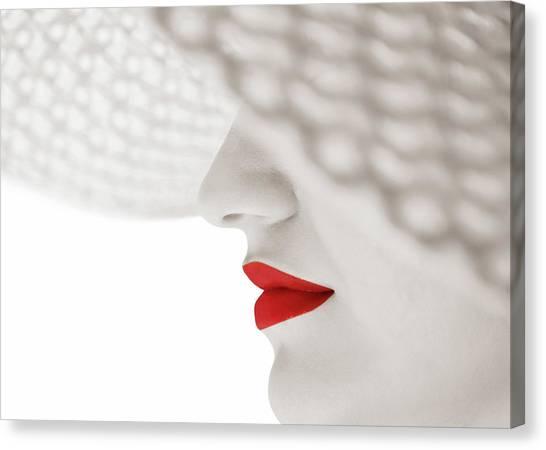 Hidden Face Canvas Print - Red by Seyhan Terzioglu