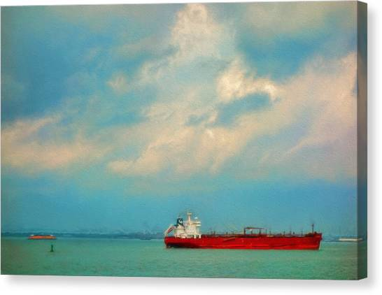 Red Ship In Oils Canvas Print