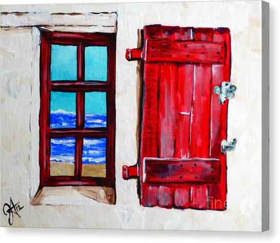 Red Shutter Ocean Canvas Print