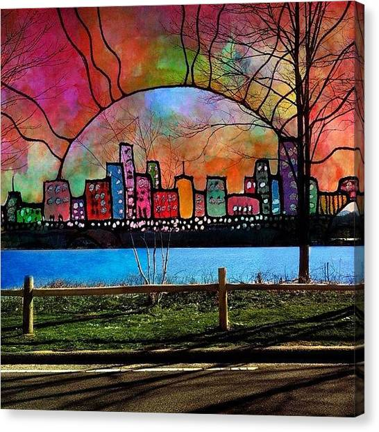 Robins Canvas Print - Red Sky At Night #alteredart by Robin Mead