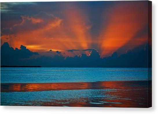 Tropical Florida Keys Red Sky At Night Canvas Print