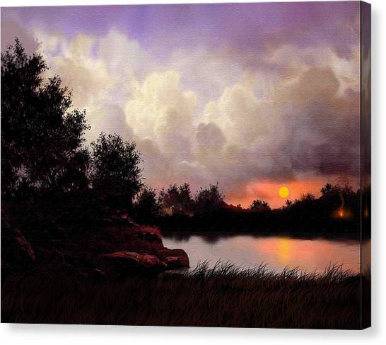 Red Sky Camp Canvas Print by Robert Foster