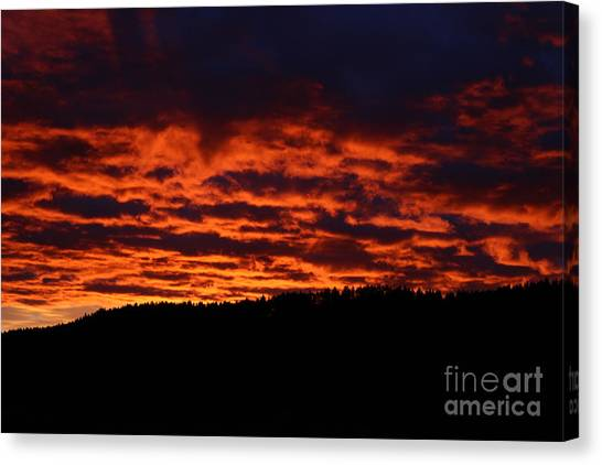 Canvas Print featuring the photograph Red Sky In The Morning by Ann E Robson