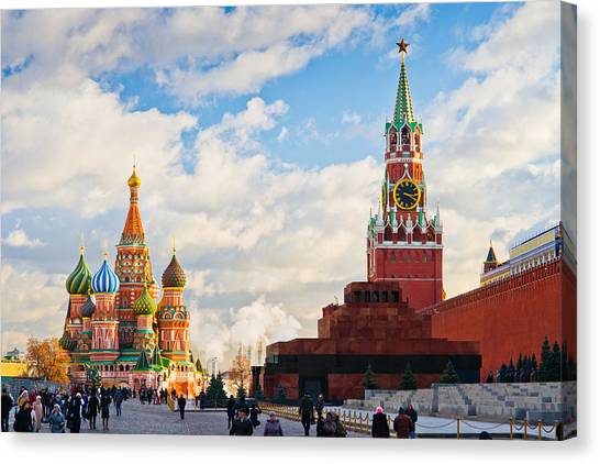 Red Square Of Moscow - Featured 3 Canvas Print