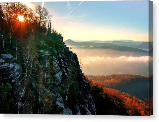Red Sun Rays On The Lilienstein Canvas Print