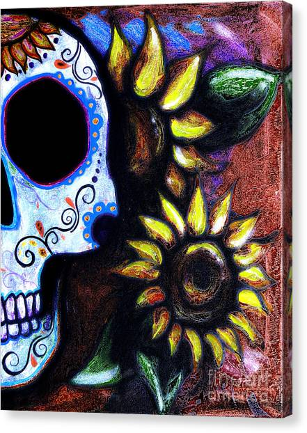 Midnite Canvas Print - Red Sunflower Skull by Lovejoy Creations