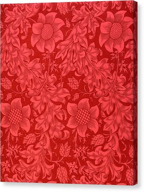 Pattern Canvas Print - Red Sunflower Wallpaper Design, 1879 by William Morris