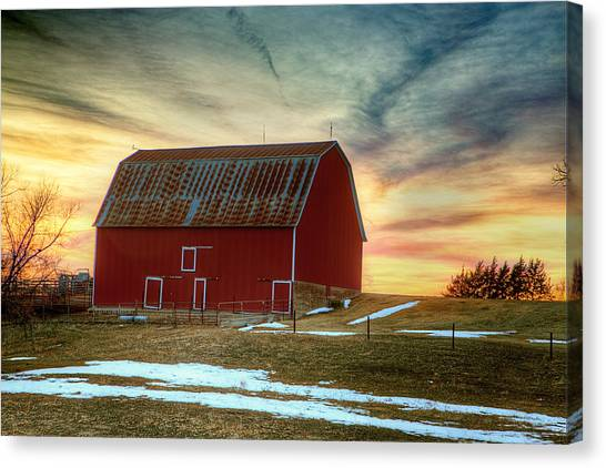 Prairie Sunrises Canvas Print - Red Sunrise by Thomas Zimmerman