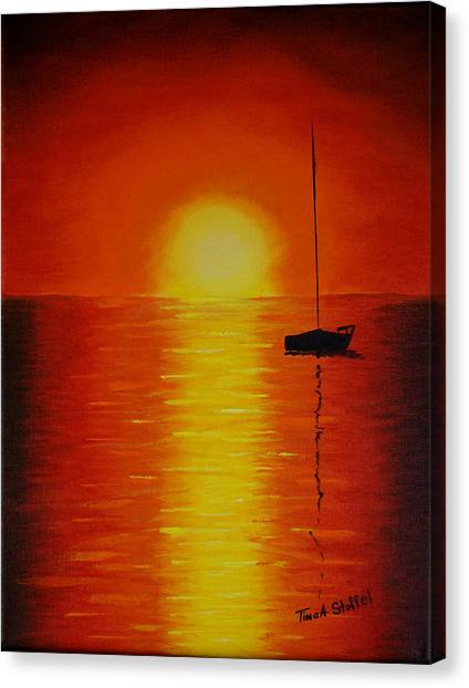 Red Sunset 1 Canvas Print by Tina Stoffel