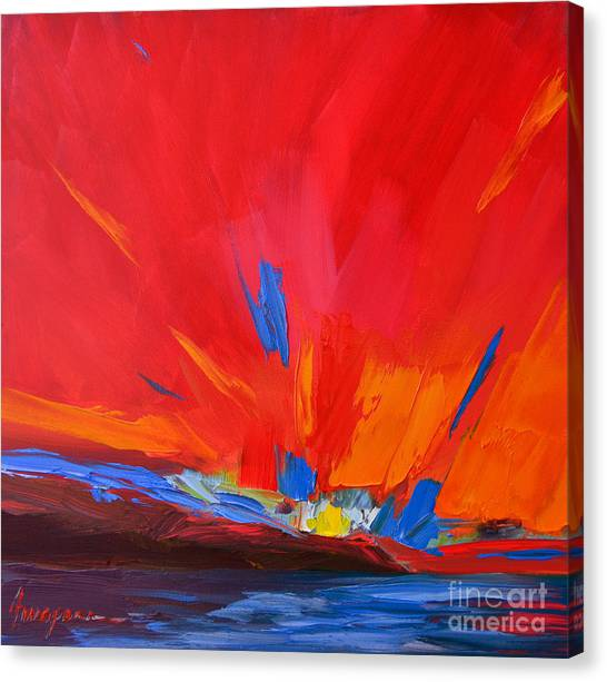 Red Sunset, Modern Abstract Art Canvas Print