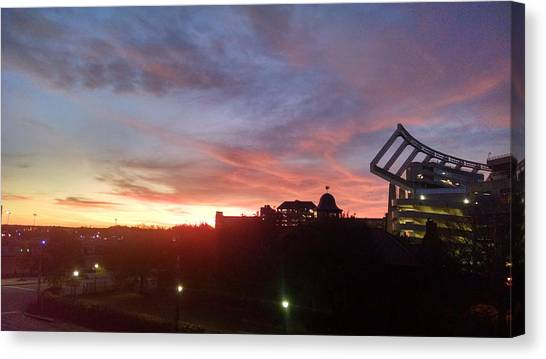 University Of South Carolina Canvas Print - Red Sunset At Williams Brice by Donna Mann
