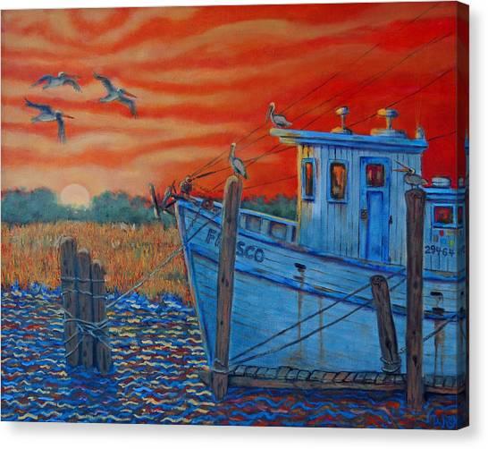 Red Sunset On Shem Creek Canvas Print