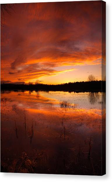 Red Sunset Over Massabesic Lake Canvas Print