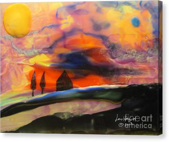 Red Sunset With Building Canvas Print