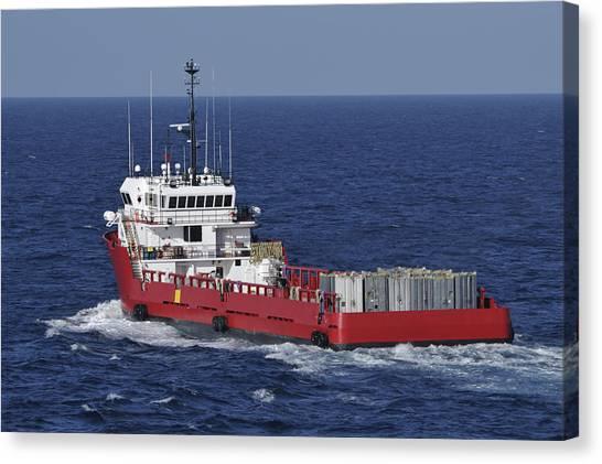Red Supply Vessel Canvas Print by Bradford Martin