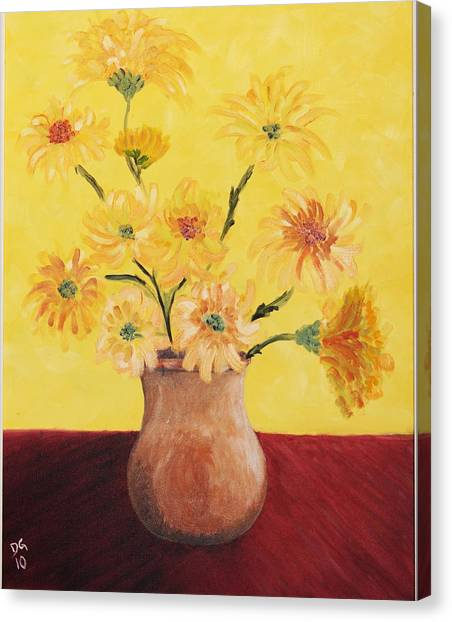 Red Table And Yellow Flowers Canvas Print